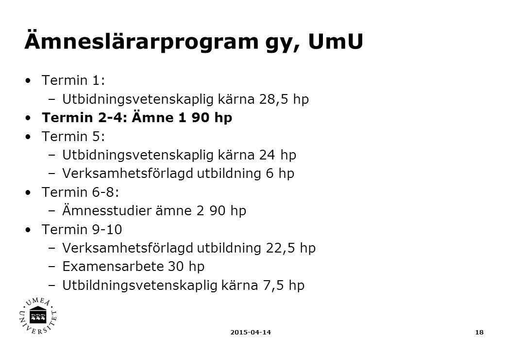 Ämneslärarprogram gy, UmU Termin 1: –Utbidningsvetenskaplig kärna 28,5 hp Termin 2-4: Ämne 1 90 hp Termin 5: –Utbidningsvetenskaplig kärna 24 hp –Verk
