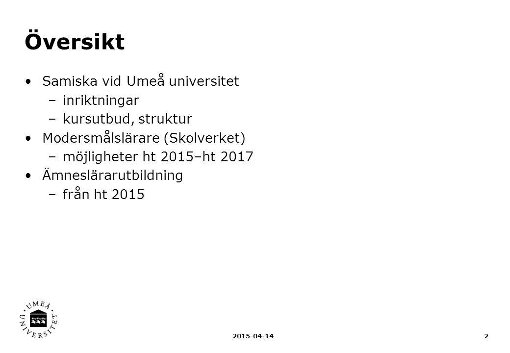 Översikt Samiska vid Umeå universitet –inriktningar –kursutbud, struktur Modersmålslärare (Skolverket) –möjligheter ht 2015–ht 2017 Ämneslärarutbildni