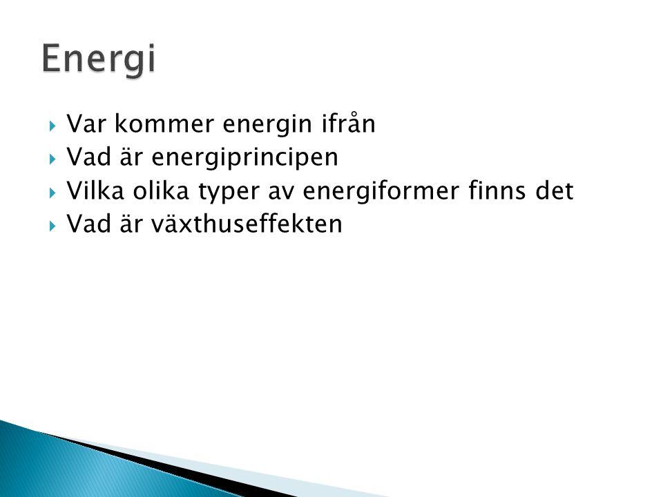  Var kommer energin ifrån  Vad är energiprincipen  Vilka olika typer av energiformer finns det  Vad är växthuseffekten