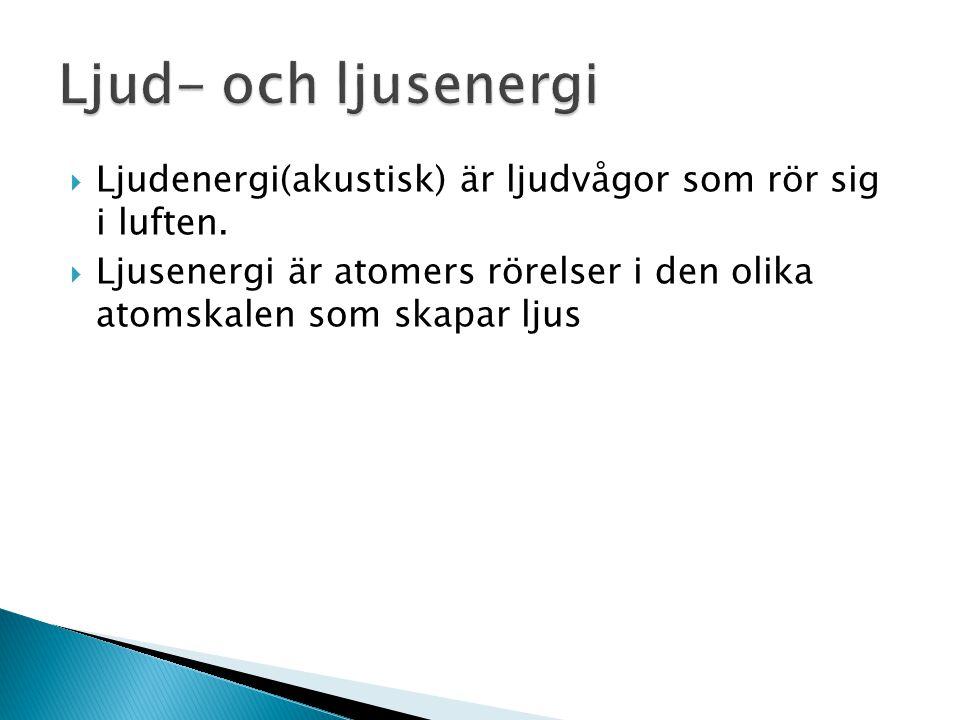  Ljudenergi(akustisk) är ljudvågor som rör sig i luften.  Ljusenergi är atomers rörelser i den olika atomskalen som skapar ljus