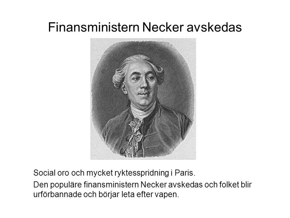 Finansministern Necker avskedas Social oro och mycket ryktesspridning i Paris.