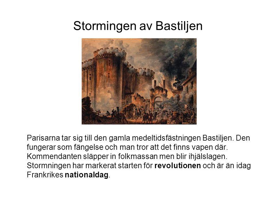 Stormingen av Bastiljen Parisarna tar sig till den gamla medeltidsfästningen Bastiljen.