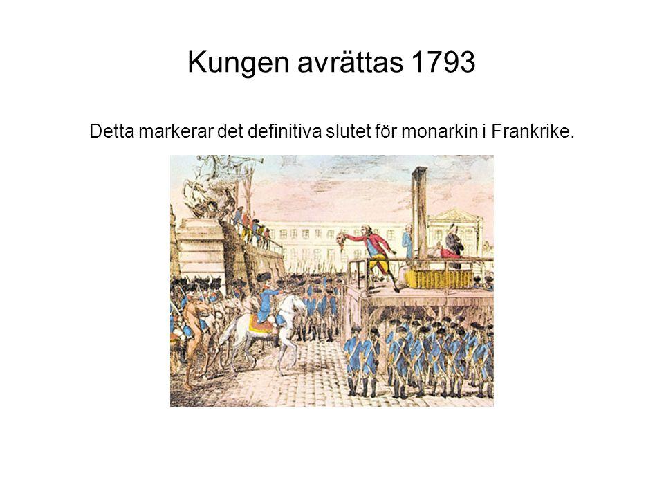 Kungen avrättas 1793 Detta markerar det definitiva slutet för monarkin i Frankrike.