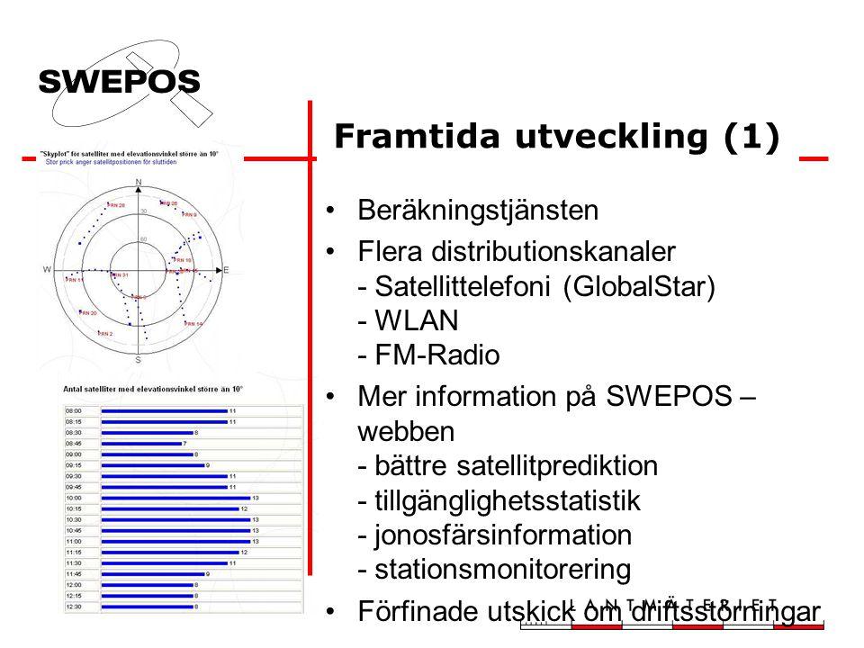 Beräkningstjänsten Flera distributionskanaler - Satellittelefoni (GlobalStar) - WLAN - FM-Radio Mer information på SWEPOS – webben - bättre satellitprediktion - tillgänglighetsstatistik - jonosfärsinformation - stationsmonitorering Förfinade utskick om driftsstörningar Framtida utveckling (1)