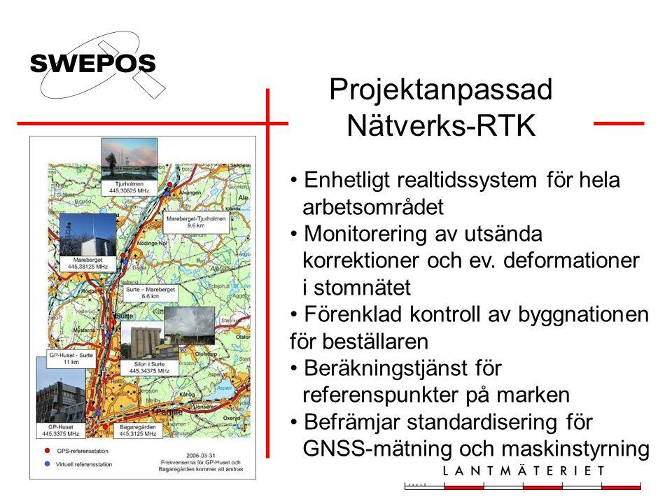 Enhetligt realtidssystem för hela arbetsområdet Monitorering av utsända korrektioner och ev. deformationer i stomnätet Förenklad kontroll av byggnatio