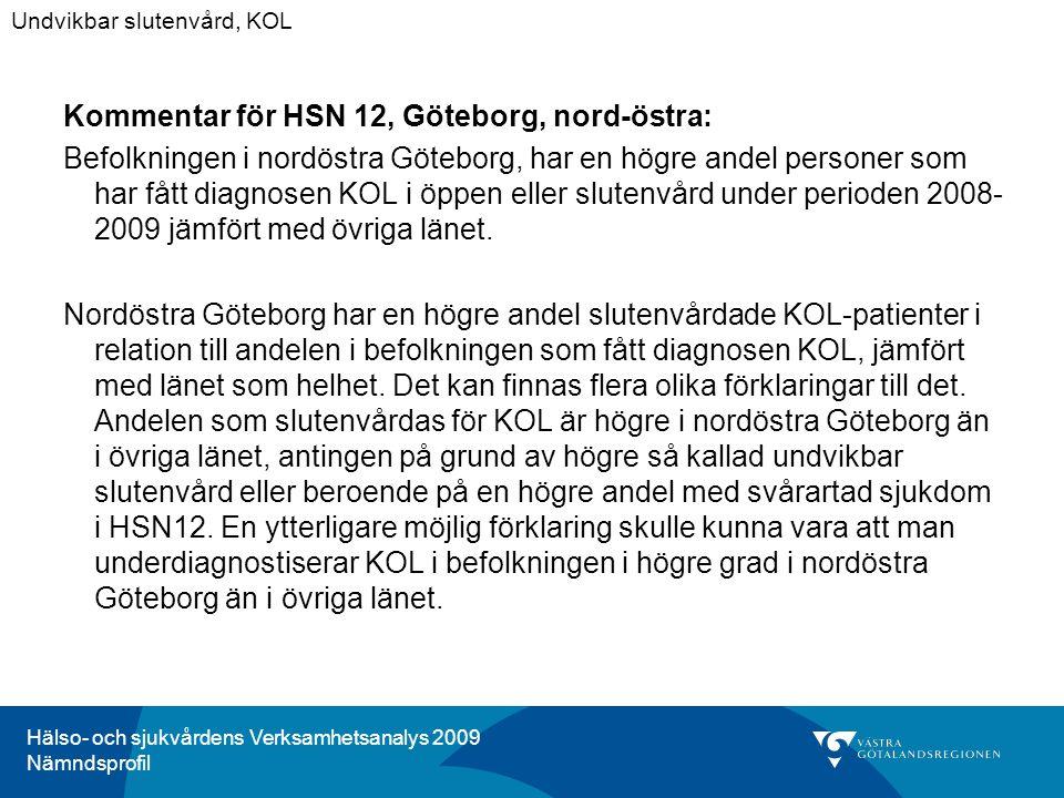 Hälso- och sjukvårdens Verksamhetsanalys 2009 Nämndsprofil Kommentar för HSN 12, Göteborg, nord-östra: Befolkningen i nordöstra Göteborg, har en högre andel personer som har fått diagnosen KOL i öppen eller slutenvård under perioden 2008- 2009 jämfört med övriga länet.