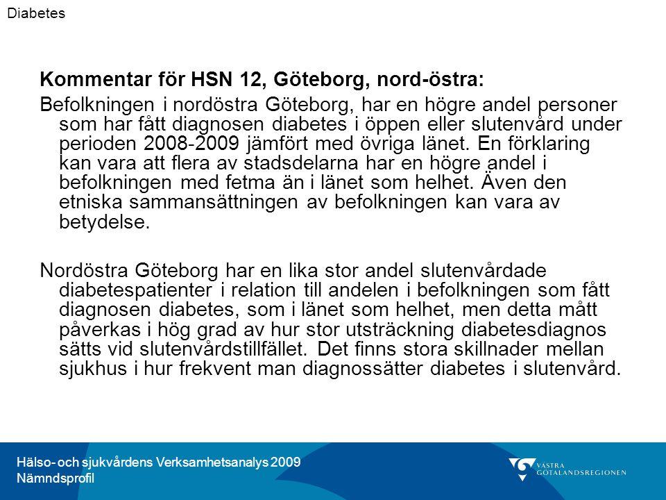Hälso- och sjukvårdens Verksamhetsanalys 2009 Nämndsprofil Kommentar för HSN 12, Göteborg, nord-östra: Befolkningen i nordöstra Göteborg, har en högre andel personer som har fått diagnosen diabetes i öppen eller slutenvård under perioden 2008-2009 jämfört med övriga länet.