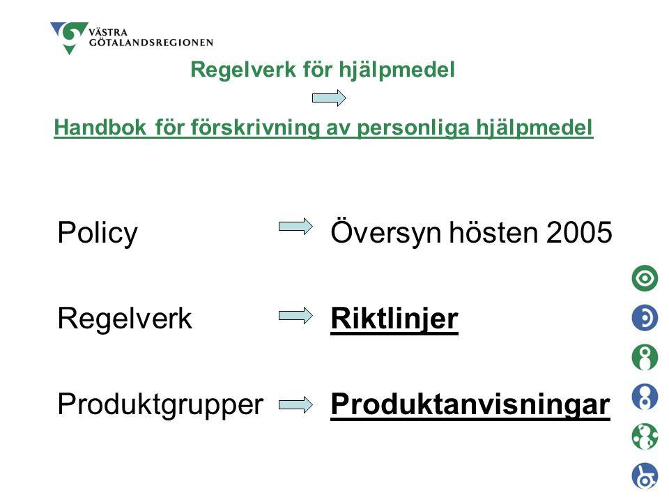 Regelverk för hjälpmedel Handbok för förskrivning av personliga hjälpmedel Policy Regelverk Produktgrupper Översyn hösten 2005 Riktlinjer Produktanvis