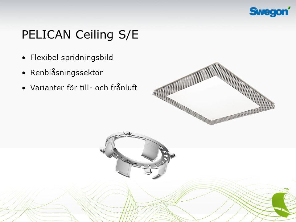 PELICAN Ceiling S/E Flexibel spridningsbild Renblåsningssektor Varianter för till- och frånluft
