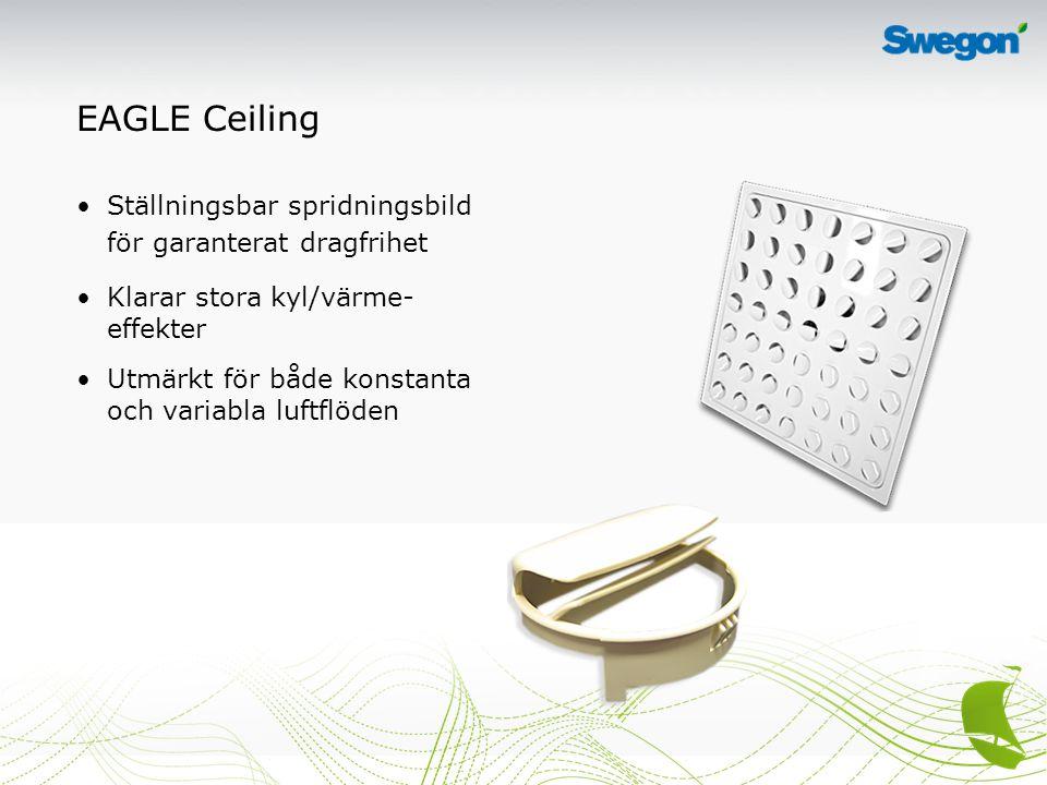 EAGLE Ceiling Ställningsbar spridningsbild för garanterat dragfrihet Klarar stora kyl/värme- effekter Utmärkt för både konstanta och variabla luftflöden