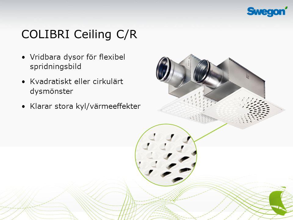 COLIBRI Ceiling C/R Vridbara dysor för flexibel spridningsbild Kvadratiskt eller cirkulärt dysmönster Klarar stora kyl/värmeeffekter