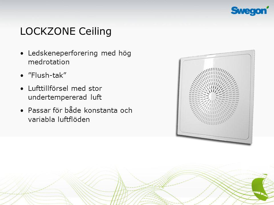 LOCKZONE Ceiling Ledskeneperforering med hög medrotation Flush-tak Lufttillförsel med stor undertempererad luft Passar för både konstanta och variabla luftflöden