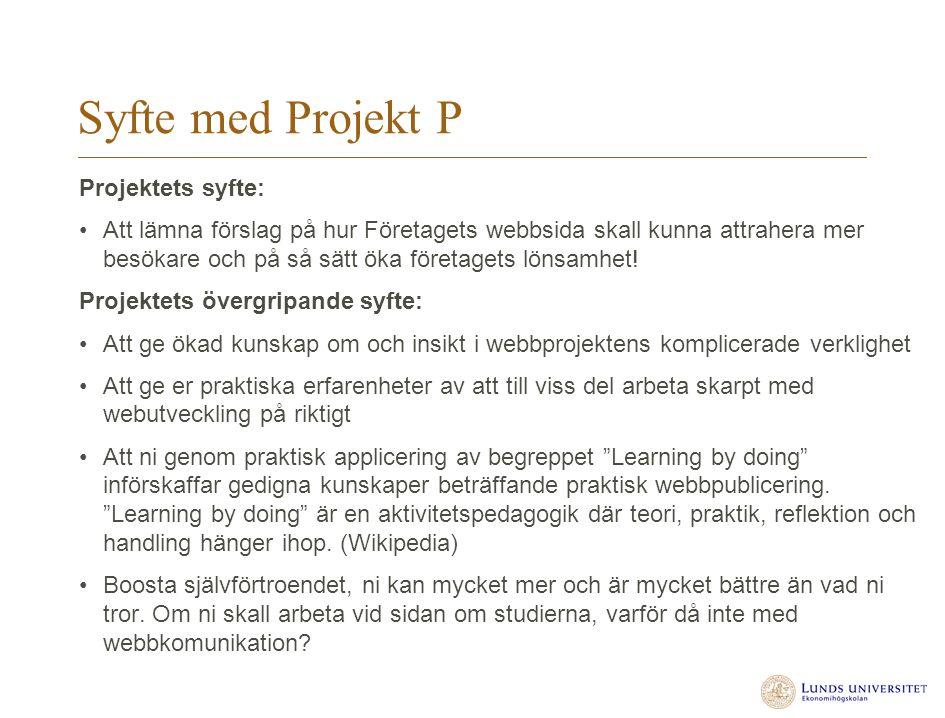 Syfte med Projekt P Projektets syfte: Att lämna förslag på hur Företagets webbsida skall kunna attrahera mer besökare och på så sätt öka företagets lö