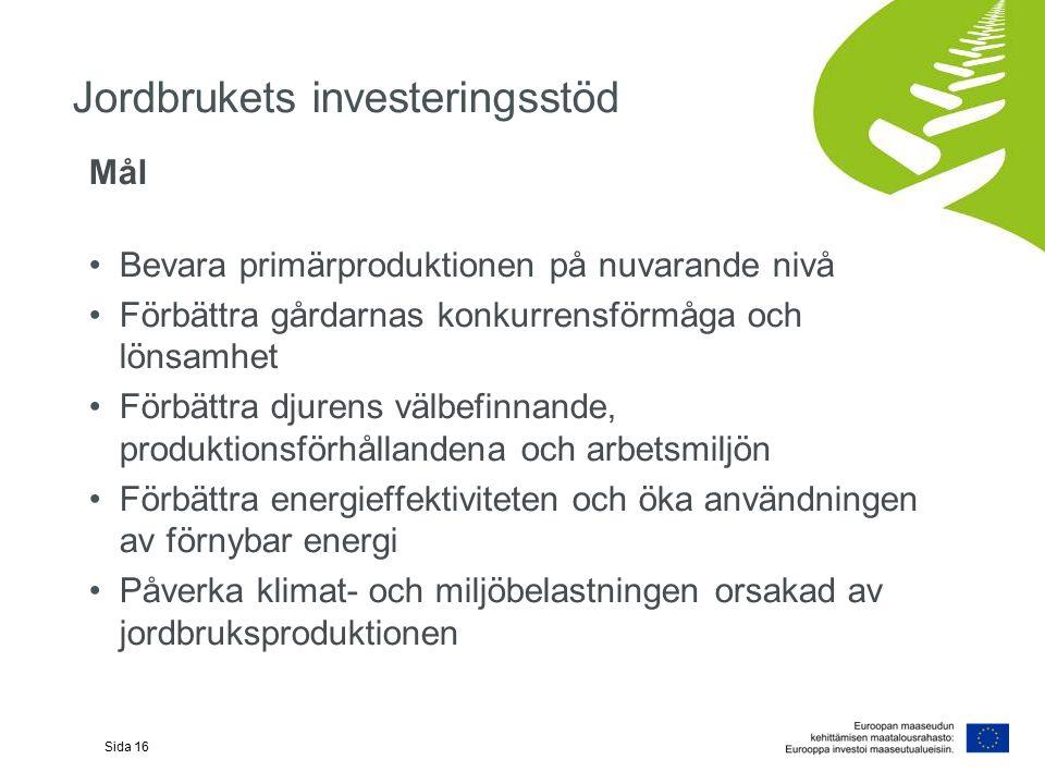 Jordbrukets investeringsstöd Mål Bevara primärproduktionen på nuvarande nivå Förbättra gårdarnas konkurrensförmåga och lönsamhet Förbättra djurens välbefinnande, produktionsförhållandena och arbetsmiljön Förbättra energieffektiviteten och öka användningen av förnybar energi Påverka klimat- och miljöbelastningen orsakad av jordbruksproduktionen Sida 16
