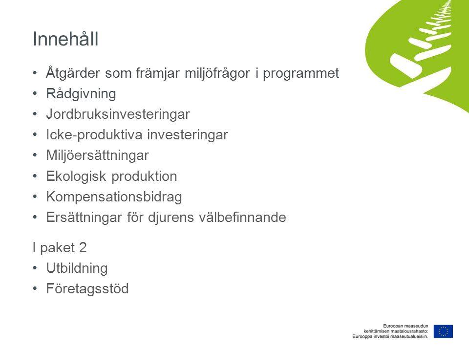 Åtgärder som främjar miljöfrågor i programmet Utbildning och informationsförmedling Utveckling av miljökunskap Rådgivning Rådgivning också i miljöfrågor Anpassning av miljöförbindelse Investeringar Gödselhantering Reglerbar dränering Anläggning av våtmarker Grundlig iståndsättning av naturbeten Utveckling av gårds- och företagsverksamheten Produkt- och serviceutveckling, innovationer, arbetsmöjligheter: t.ex.