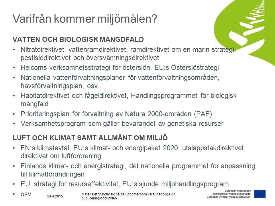 VATTEN OCH BIOLOGISK MÅNGDFALD Nitratdirektivet, vattenramdirektivet, ramdirektivet om en marin strategi, pestisiddirektivet och översvämningsdirektivet Helcoms verksamhetsstrategi för östersjön, EU:s Östersjöstrategi Nationella vattenförvaltningsplaner för vattenförvaltningsområden, havsförvaltningsplan, osv.