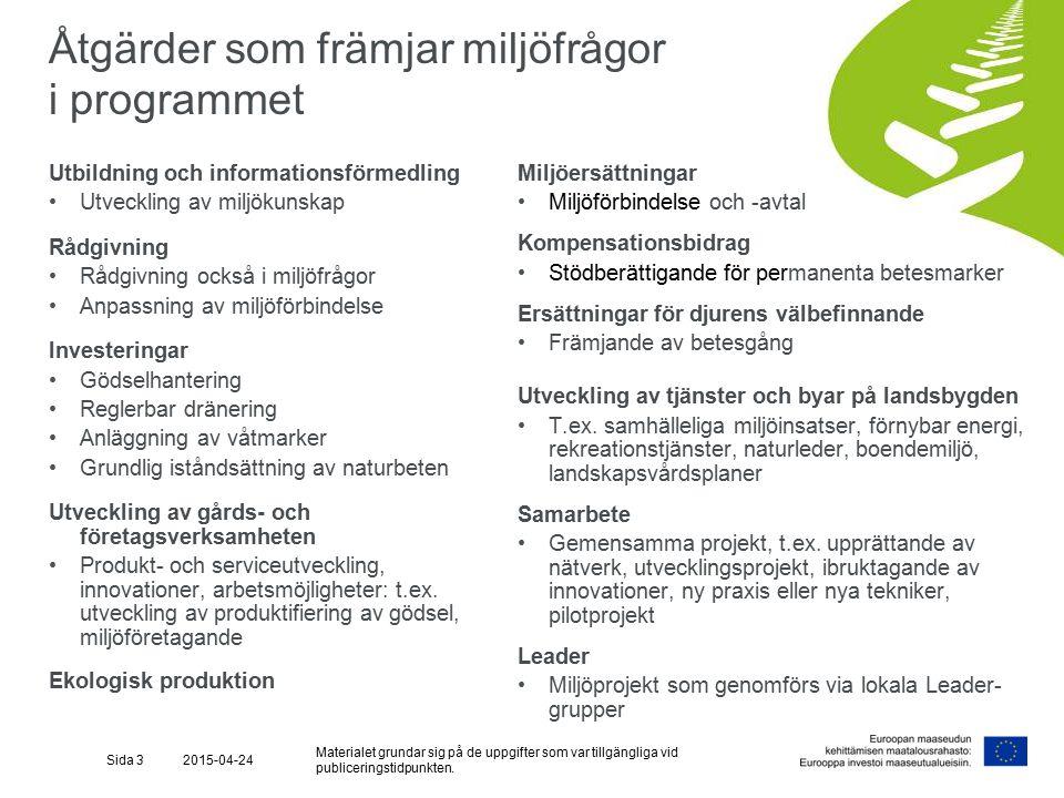 I programmet för utveckling av landsbygden i Fastlandsfinland 2014-2020 KOMPENSATIONSBIDRAG