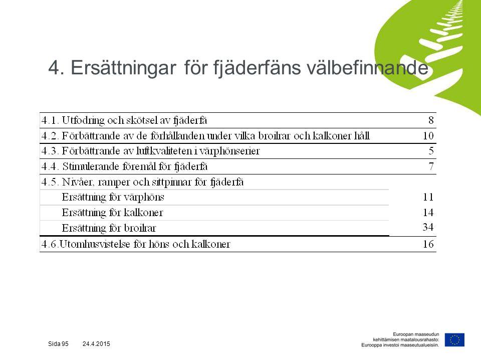 4. Ersättningar för fjäderfäns välbefinnande Sida 95 24.4.2015