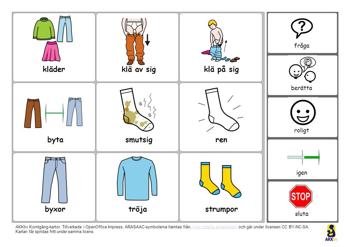kläderklä av sigklä på sig rensmutsigbyta byxortröjastrumpor fråga berätta roligt igen sluta fråga berätta roligt igen sluta AKKtiv KomIgång-kartor.