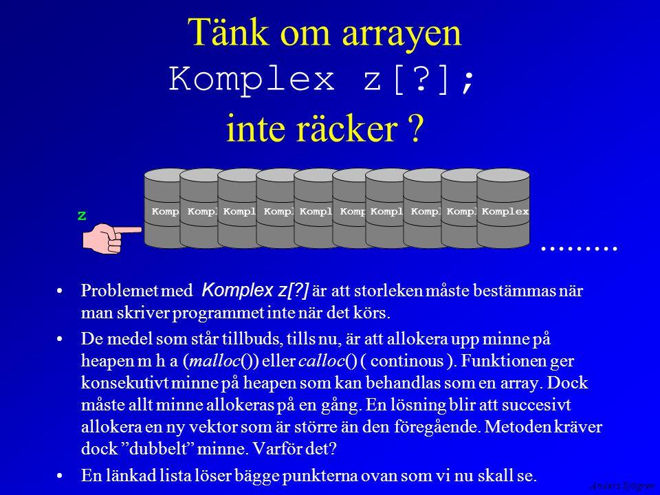 Anders Sjögren Tänk om arrayen Komplex z[?]; inte räcker .