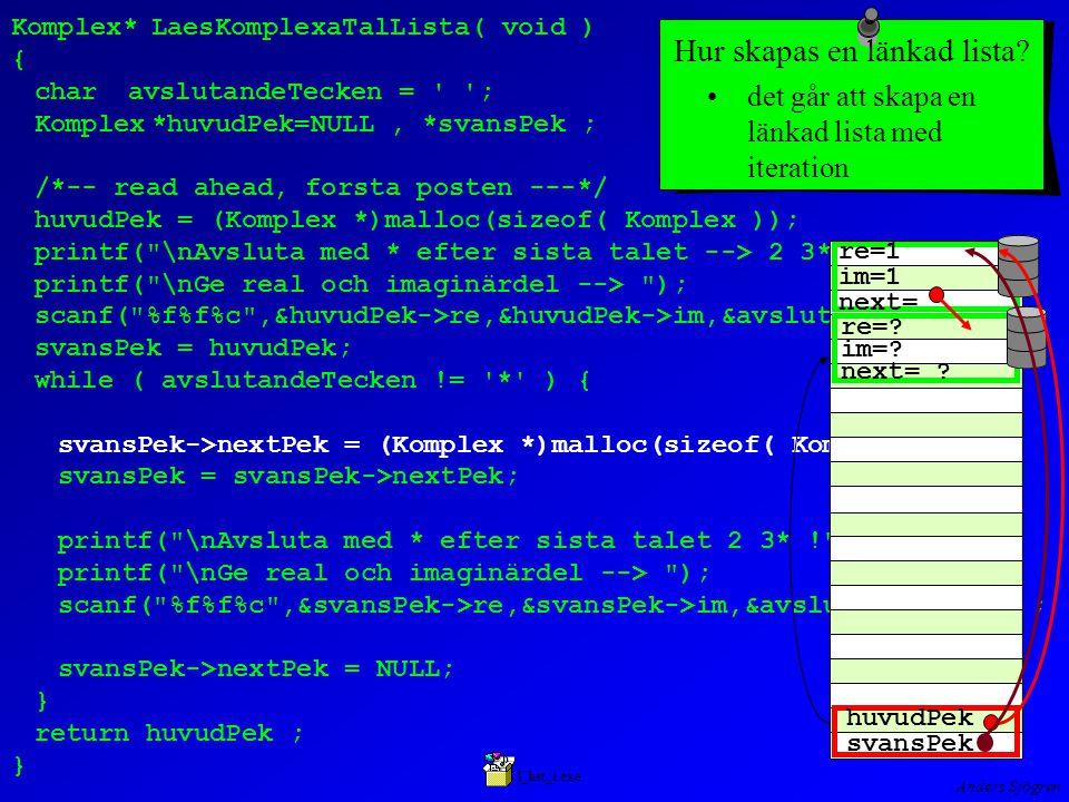 Anders Sjögren Komplex*LaesKomplexaTalLista( void ) { charavslutandeTecken = ; Komplex*huvudPek=NULL, *svansPek ; /*-- read ahead, forsta posten ---*/ huvudPek = (Komplex *)malloc(sizeof( Komplex )); printf( \nAvsluta med * efter sista talet --> 2 3* ! ); printf( \nGe real och imaginärdel --> ); scanf( %f%f%c ,&huvudPek->re,&huvudPek->im,&avslutandeTecken ); svansPek = huvudPek; while ( avslutandeTecken != * ) { svansPek->nextPek = (Komplex *)malloc(sizeof( Komplex )); svansPek = svansPek->nextPek; printf( \nAvsluta med * efter sista talet 2 3* ! ); printf( \nGe real och imaginärdel --> ); scanf( %f%f%c ,&svansPek->re,&svansPek->im,&avslutandeTecken); svansPek->nextPek = NULL; } return huvudPek ; } det går att skapa en länkad lista med iteration l_list_i.exe Hur skapas en länkad lista.