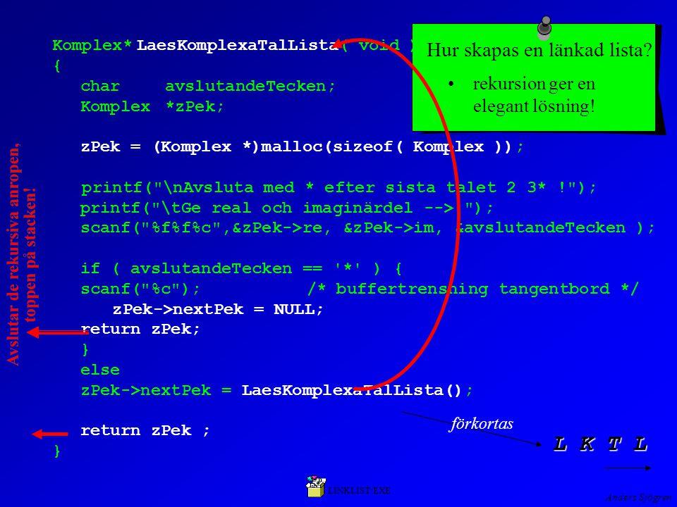 Anders Sjögren Komplex*LaesKomplexaTalLista( void ) { charavslutandeTecken; Komplex*zPek; zPek = (Komplex *)malloc(sizeof( Komplex )); printf( \nAvsluta med * efter sista talet 2 3* ! ); printf( \tGe real och imaginärdel --> ); scanf( %f%f%c ,&zPek->re, &zPek->im, &avslutandeTecken ); if ( avslutandeTecken == * ) { scanf( %c ); /* buffertrensning tangentbord */ zPek->nextPek = NULL; return zPek; } else zPek->nextPek = LaesKomplexaTalLista(); return zPek ; } Hur skapas en länkad lista.