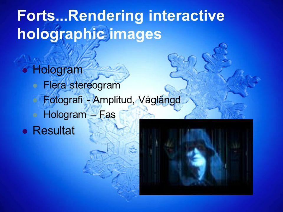 Forts...Rendering interactive holographic images Hologram Flera stereogram Fotografi - Amplitud, Våglängd Hologram – Fas Resultat