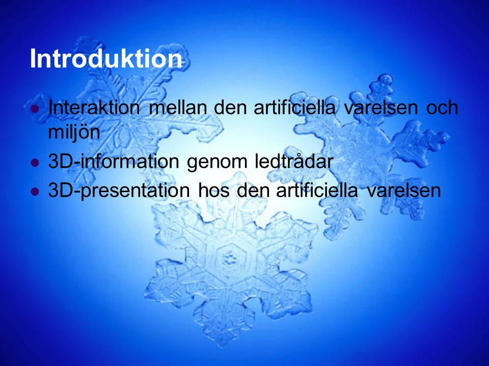 Introduktion Interaktion mellan den artificiella varelsen och miljön 3D-information genom ledtrådar 3D-presentation hos den artificiella varelsen