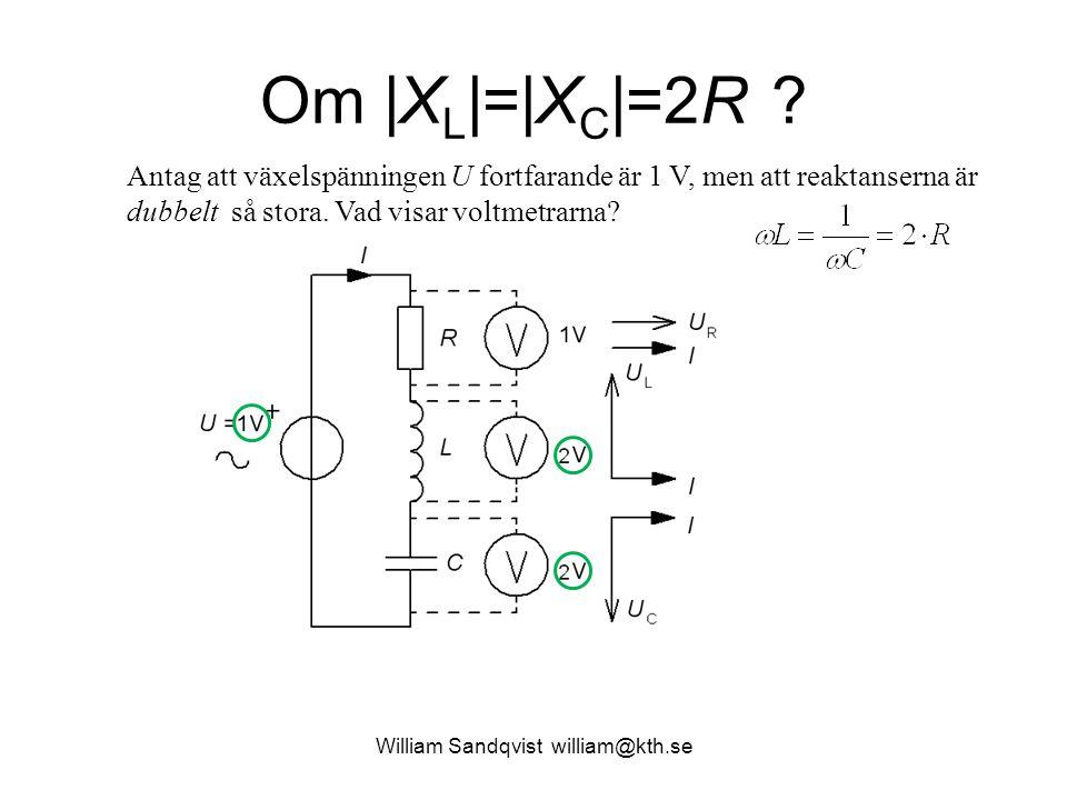 William Sandqvist william@kth.se Om |X L |=|X C |=2R ? Antag att växelspänningen U fortfarande är 1 V, men att reaktanserna är dubbelt så stora. Vad v