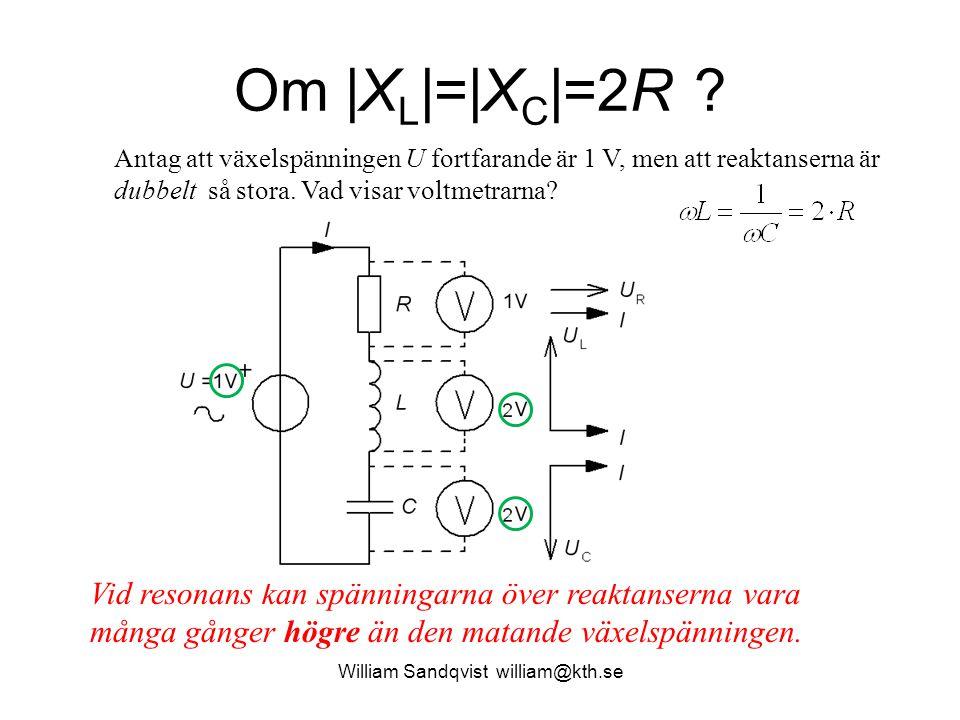 William Sandqvist william@kth.se Om |X L |=|X C |=2R ? Vid resonans kan spänningarna över reaktanserna vara många gånger högre än den matande växelspä