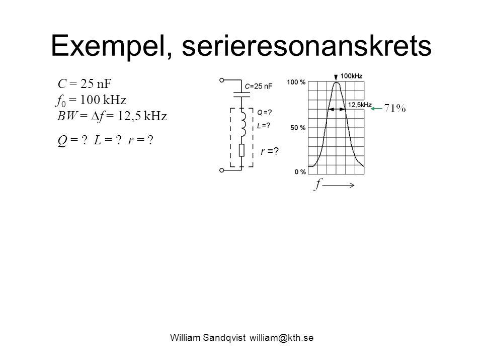 Exempel, serieresonanskrets C = 25 nF f 0 = 100 kHz BW =  f = 12,5 kHz Q = ? L = ? r = ? r =?
