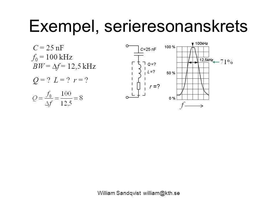 William Sandqvist william@kth.se Exempel, serieresonanskrets r =? C = 25 nF f 0 = 100 kHz BW =  f = 12,5 kHz Q = ? L = ? r = ?