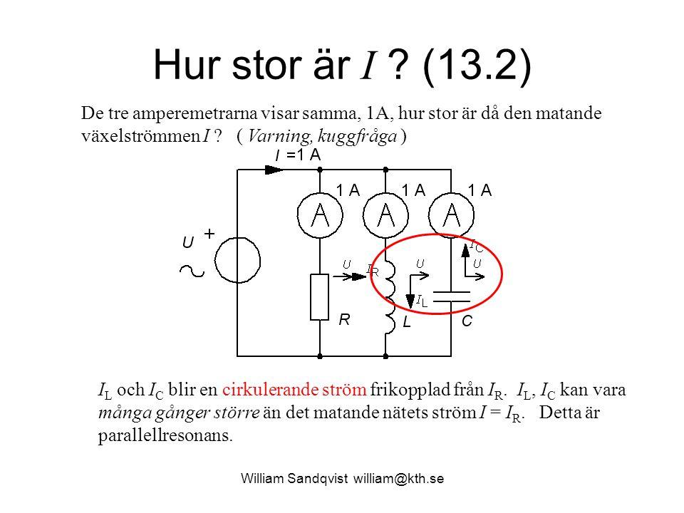 William Sandqvist william@kth.se Hur stor är I ? (13.2) I L och I C blir en cirkulerande ström frikopplad från I R. I L, I C kan vara många gånger stö