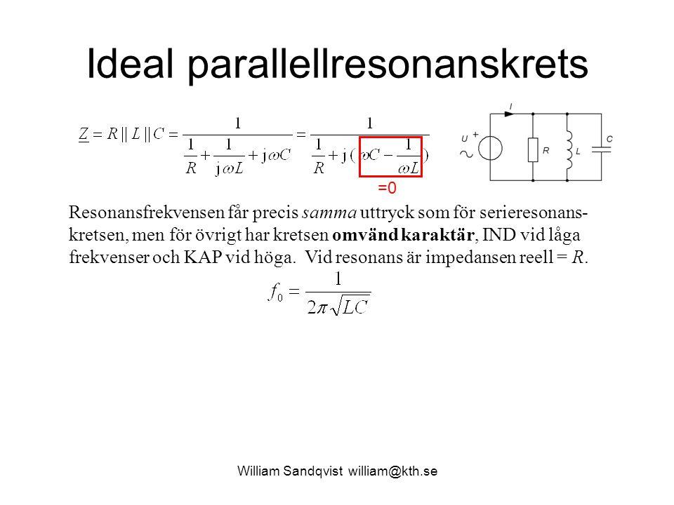 William Sandqvist william@kth.se Ideal parallellresonanskrets =0 Resonansfrekvensen får precis samma uttryck som för serieresonans- kretsen, men för ö