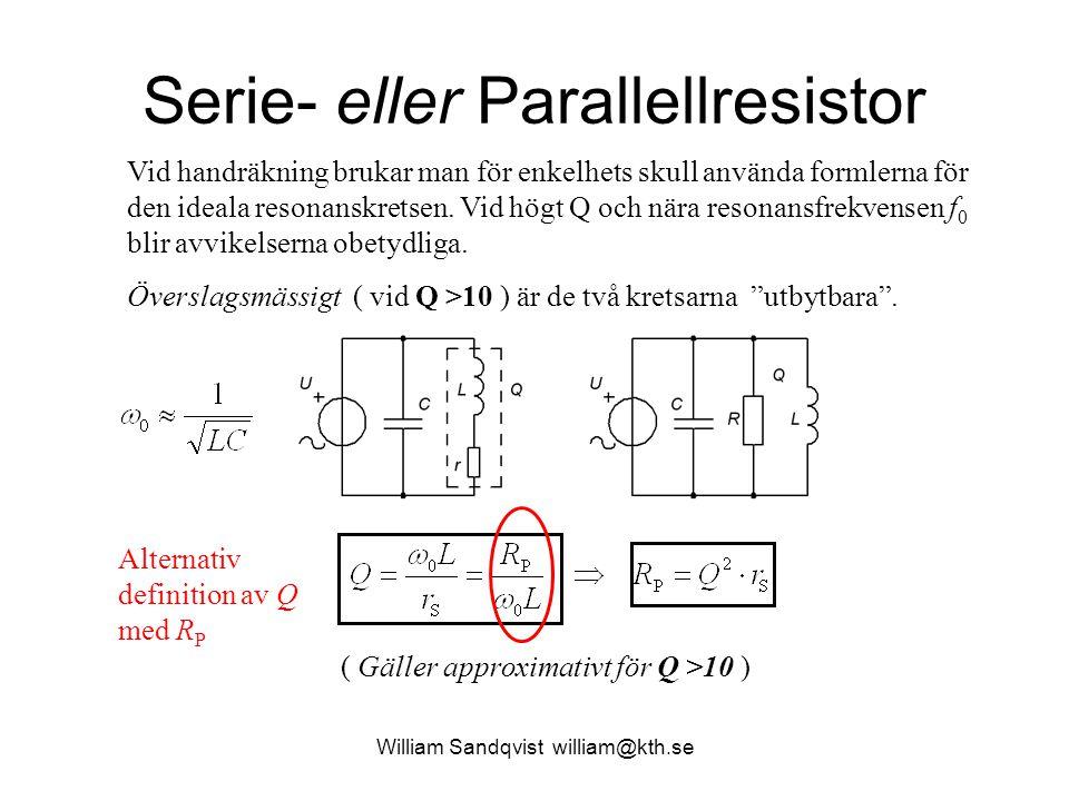 Serie- eller Parallellresistor Vid handräkning brukar man för enkelhets skull använda formlerna för den ideala resonanskretsen. Vid högt Q och nära re