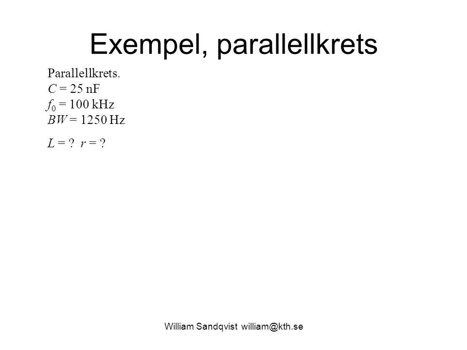 William Sandqvist william@kth.se Exempel, parallellkrets Parallellkrets. C = 25 nF f 0 = 100 kHz BW = 1250 Hz L = ? r = ?