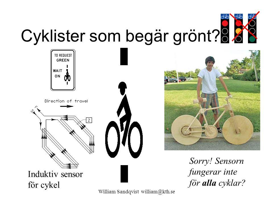 William Sandqvist william@kth.se Cyklister som begär grönt? Induktiv sensor för cykel Sorry! Sensorn fungerar inte för alla cyklar?