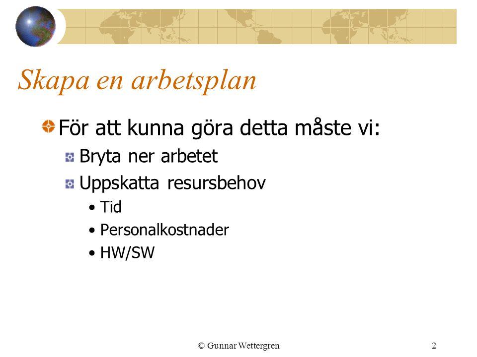 © Gunnar Wettergren2 Skapa en arbetsplan För att kunna göra detta måste vi: Bryta ner arbetet Uppskatta resursbehov Tid Personalkostnader HW/SW