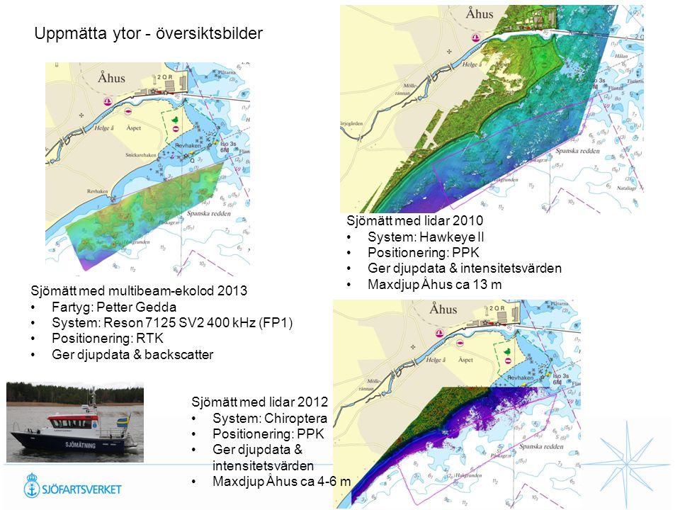 Uppmätta ytor - översiktsbilder Sjömätt med multibeam-ekolod 2013 Fartyg: Petter Gedda System: Reson 7125 SV2 400 kHz (FP1) Positionering: RTK Ger dju