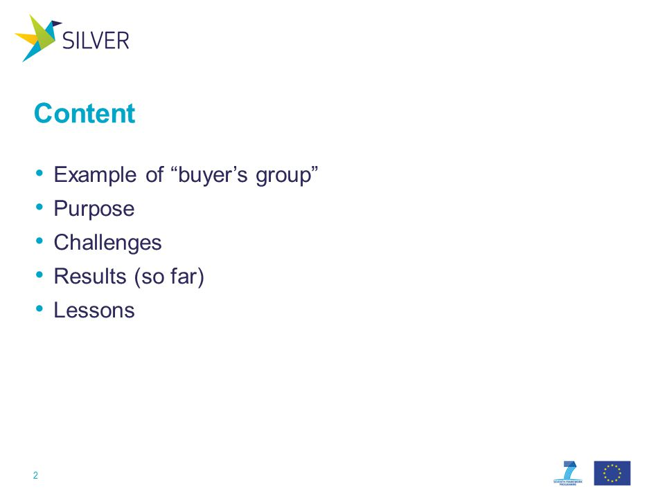 Content Example of buyer's group Purpose Challenges Results (so far) Lessons 2