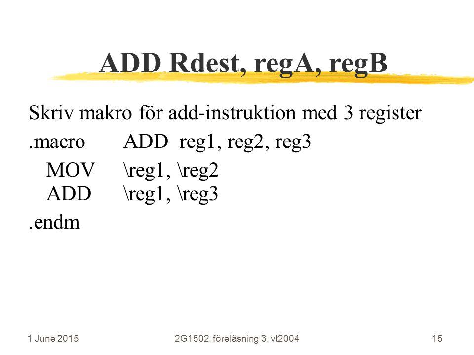 1 June 20152G1502, föreläsning 3, vt200415 ADD Rdest, regA, regB Skriv makro för add-instruktion med 3 register.macroADD reg1, reg2, reg3 MOV\reg1, \reg2 ADD\reg1, \reg3.endm R