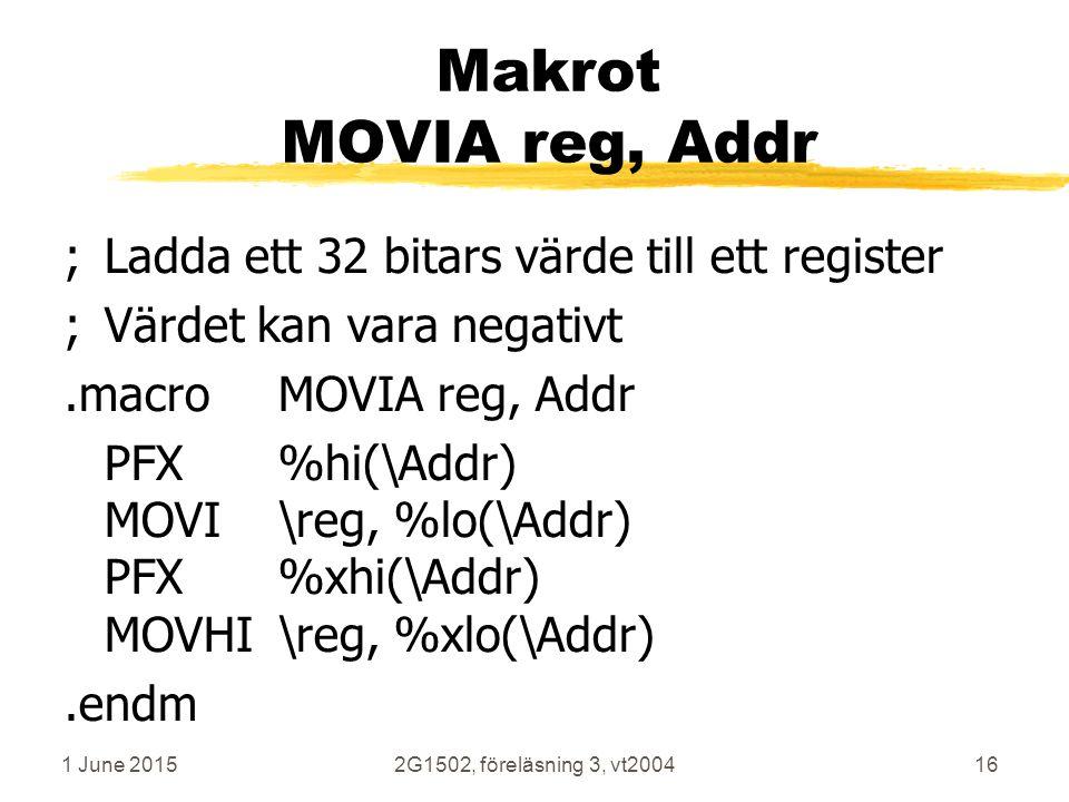 1 June 20152G1502, föreläsning 3, vt200416 Makrot MOVIA reg, Addr ;Ladda ett 32 bitars värde till ett register ;Värdet kan vara negativt.macroMOVIA reg, Addr PFX%hi(\Addr) MOVI\reg, %lo(\Addr) PFX%xhi(\Addr) MOVHI\reg, %xlo(\Addr).endm R