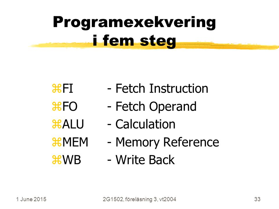 1 June 20152G1502, föreläsning 3, vt200433 Programexekvering i fem steg zFI- Fetch Instruction zFO - Fetch Operand zALU - Calculation zMEM - Memory Reference zWB - Write Back