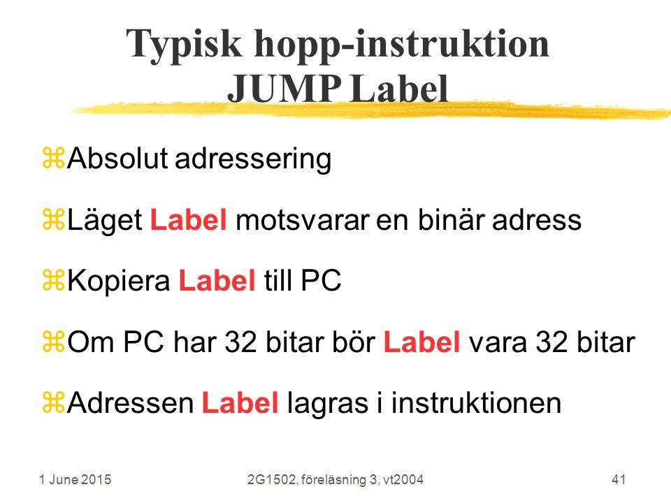 1 June 20152G1502, föreläsning 3, vt200441 Typisk hopp-instruktion JUMP Label  Absolut adressering  Läget Label motsvarar en binär adress  Kopiera Label till PC  Om PC har 32 bitar bör Label vara 32 bitar  Adressen Label lagras i instruktionen