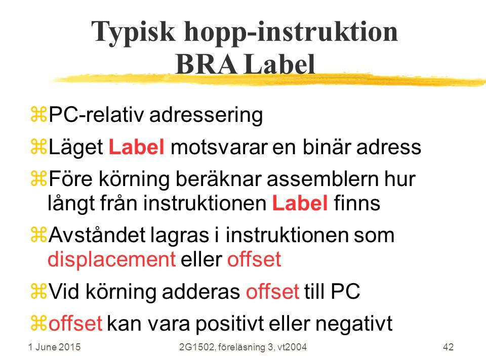 1 June 20152G1502, föreläsning 3, vt200442 Typisk hopp-instruktion BRA Label  PC-relativ adressering  Läget Label motsvarar en binär adress  Före körning beräknar assemblern hur långt från instruktionen Label finns  Avståndet lagras i instruktionen som displacement eller offset  Vid körning adderas offset till PC  offset kan vara positivt eller negativt
