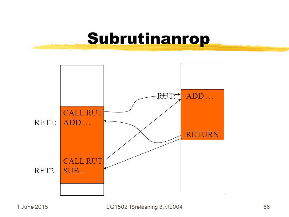 1 June 20152G1502, föreläsning 3, vt200466 Subrutinanrop CALL RUT RET1:ADD … CALL RUT RET2:SUB...