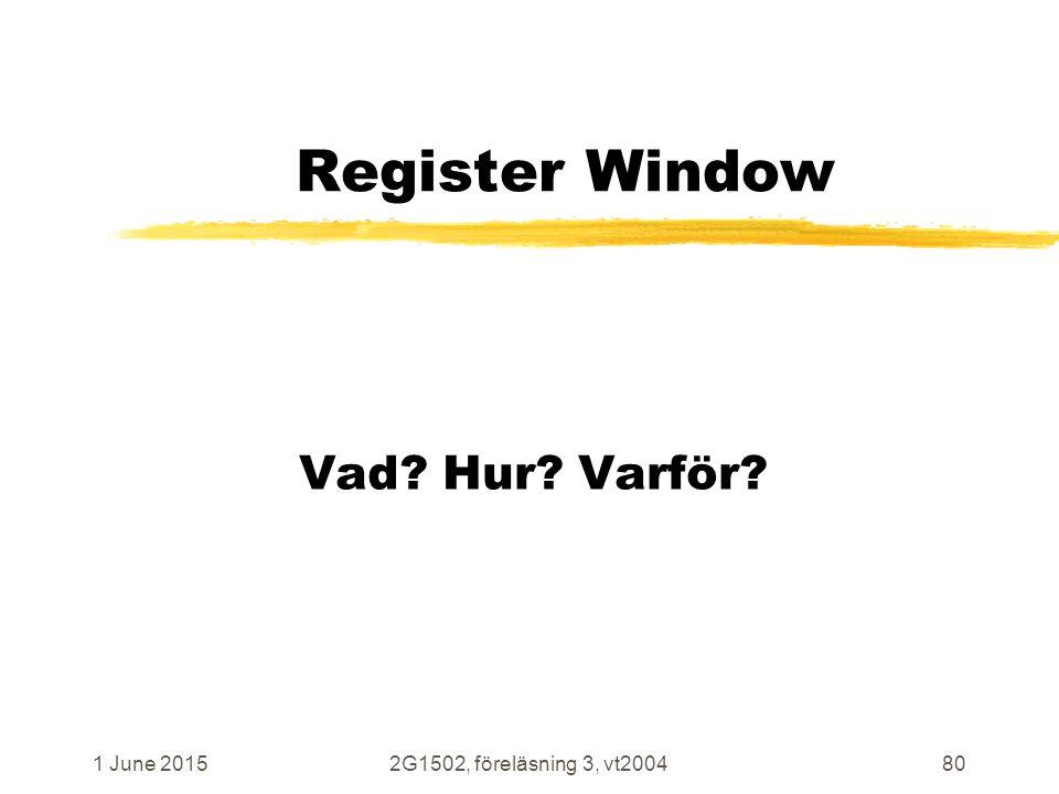 1 June 20152G1502, föreläsning 3, vt200480 Register Window Vad Hur Varför