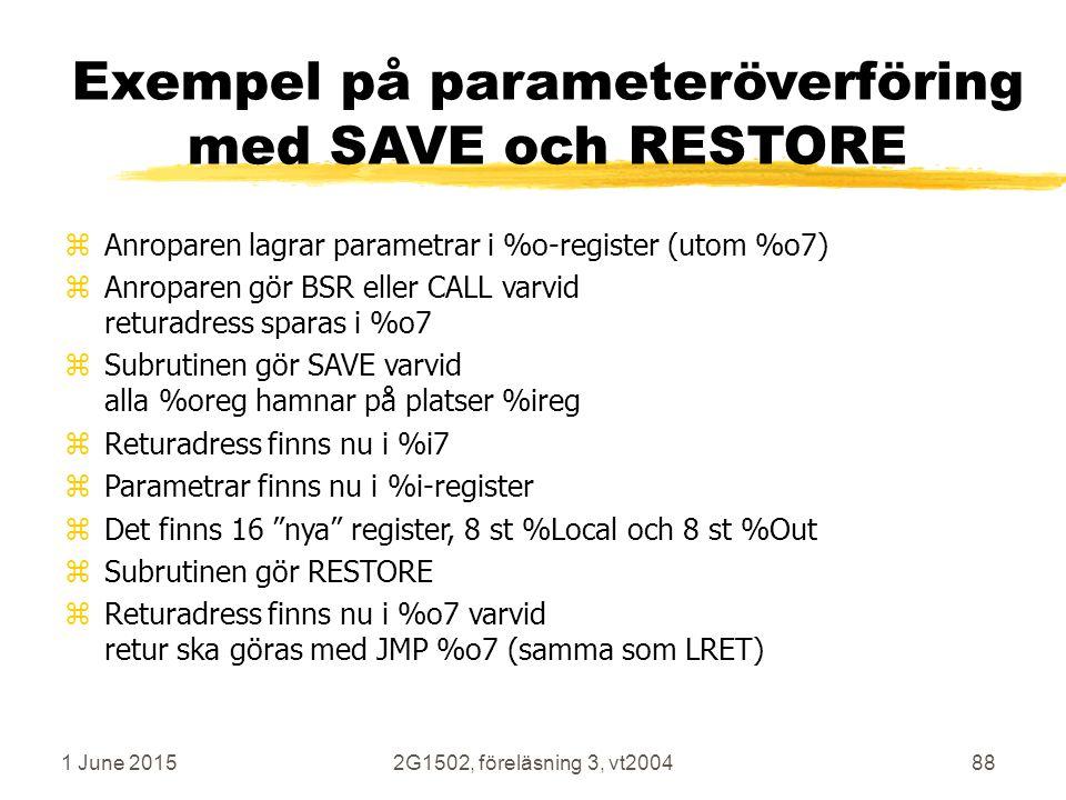 1 June 20152G1502, föreläsning 3, vt200488 Exempel på parameteröverföring med SAVE och RESTORE zAnroparen lagrar parametrar i %o-register (utom %o7) zAnroparen gör BSR eller CALL varvid returadress sparas i %o7 zSubrutinen gör SAVE varvid alla %oreg hamnar på platser %ireg zReturadress finns nu i %i7 zParametrar finns nu i %i-register zDet finns 16 nya register, 8 st %Local och 8 st %Out zSubrutinen gör RESTORE zReturadress finns nu i %o7 varvid retur ska göras med JMP %o7 (samma som LRET)