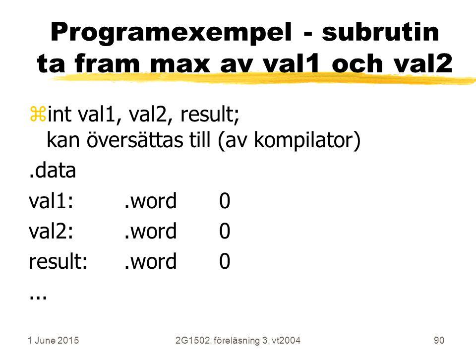 1 June 20152G1502, föreläsning 3, vt200490 Programexempel - subrutin ta fram max av val1 och val2 zint val1, val2, result; kan översättas till (av kompilator).data val1:.word0 val2:.word0 result:.word0...