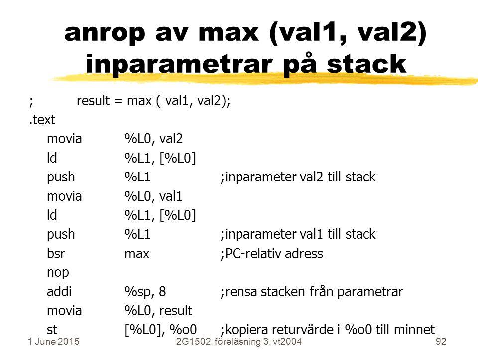 1 June 20152G1502, föreläsning 3, vt200492 anrop av max (val1, val2) inparametrar på stack ;result = max ( val1, val2);.text movia%L0, val2 ld%L1, [%L0] push%L1;inparameter val2 till stack movia%L0, val1 ld%L1, [%L0] push%L1;inparameter val1 till stack bsrmax;PC-relativ adress nop addi%sp, 8;rensa stacken från parametrar movia%L0, result st[%L0], %o0;kopiera returvärde i %o0 till minnet